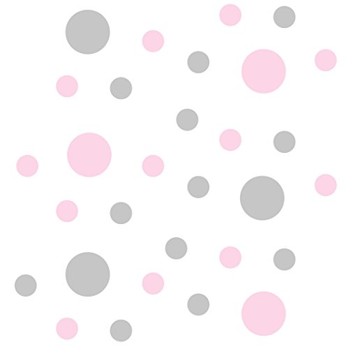 (Set of 30 - Circles Polka Dots Vinyl Wall Graphic Decals Stickers (Baby Pink/Light Grey))