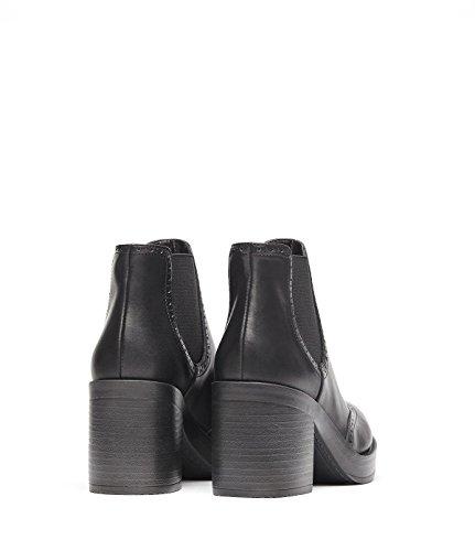 PoiLei Millie - Damen-Schuhe/Klassischer Chelsea-Boot mit Breitem Block-Absatz - mit Plateau-Sohle und Budapester-Muster - Schwarz