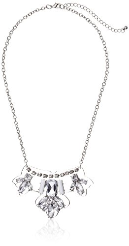 [Lucite and Crystal Pendant Silver-Tone Chain Statement Necklace, 20