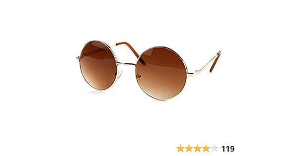 John Lennon Sunglasses Round Hippie Shades Retro Colored Lenses Retro Party Silver frame w//Blue Lens