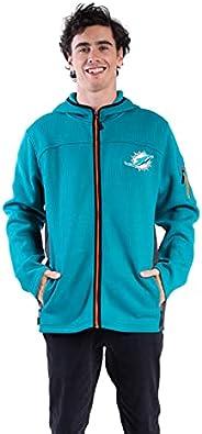 Ultra Game NFL Miami Dolphins Mens Extra Soft Fleece Quarter-Zip Pullover Hoodie Sweatshirt, Team Color, X-Lar