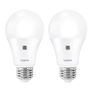 Lepro Dusk to Dawn LED Light Bulbs for Outdoor Lighting, Soft White 60 Watt Equivalent, Non-Dimmable, Automatic On/Off Light Sensor Bulb, 9W 806 Lumens, A19 E26 Medium Screw Base, Pack of 2