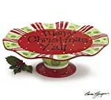 Merry Christmas Y'all Cake Plate/Stand Festive Red and Green Pattern