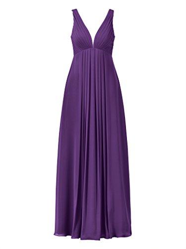 Alicepub V-cou Robe De Demoiselle D'honneur Sans Manches Robe Longue De Soirée De Bal Du Parti Empire Violet