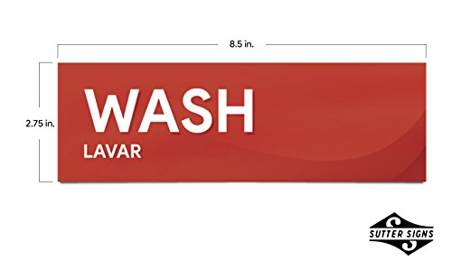 """Wash Rinse and Sanitize Sink Labels   Sticker Signs for Restaurants, Kitchens, Food Trucks, Bussing Stations, Dishwashing (Three 8 1/2"""" x 2 3/4"""" Stickers)"""