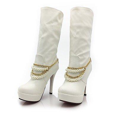 Forro Heart amp;m Botas Zapatos Tacón Gemelo De Invierno Semicuero Dedo Plataforma Puntiagudo Moda Pelusa Otoño White Mujer Mitad Stiletto rzPqdwYr