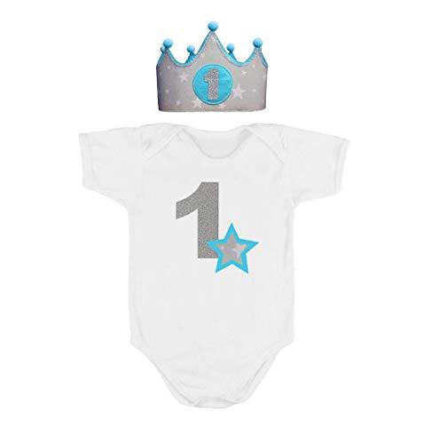 Corona + Body/Camiseta primer cumpleaños 1 año azul: Amazon ...