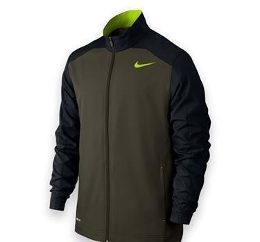 New Nike Men's Team Woven Training Jacket Cargo Khaki/Black/Volt/Volt Small (Nike Jacket Woven Mens Team)