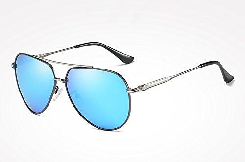 Lunettes blue Retro lunettes soleil soleil gray Lunettes Hommes Sunglasses Femmes TL soleil de polarisées silver mâle miroir Homme Vintage de de Drive de de Tg78n