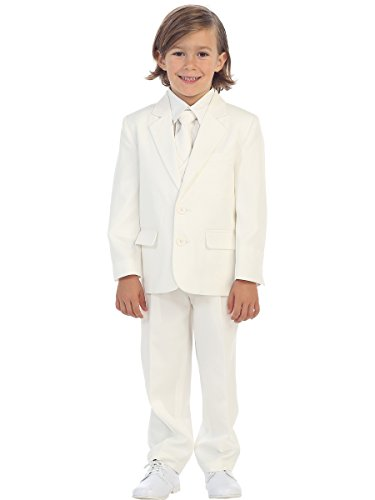 5-Piece Boy's 2-Button Dress Suit Tuxedo - Ivory 10