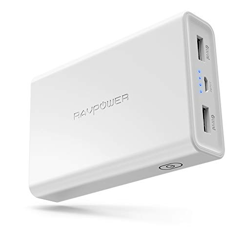 Portable Charger RAVPower 10000mAh Power Banks, Ultra-Compact 10000 Battery Pack with 3.4A Output, Dual iSmart 2.0 USB Ports, Portable Phone Charger for iPhone, iPad and More