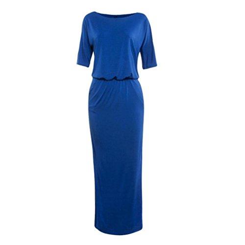Vovotrade® para con Largo Fiesta Bolsillo Boho Mujeres Mujer de Noche Vestidos de Vestido Azul Maxi ra7q5r