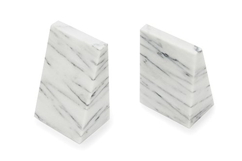 (Fox Run Triangular 100% Natural Polished White Marble Bookends)