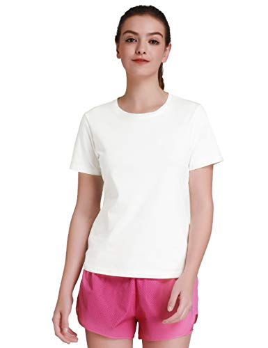 Camel Women's 2-Pack Short-Sleeve Round-Neck T-Shirt Soft Cotton Casual Undershirts Tee(White, L)