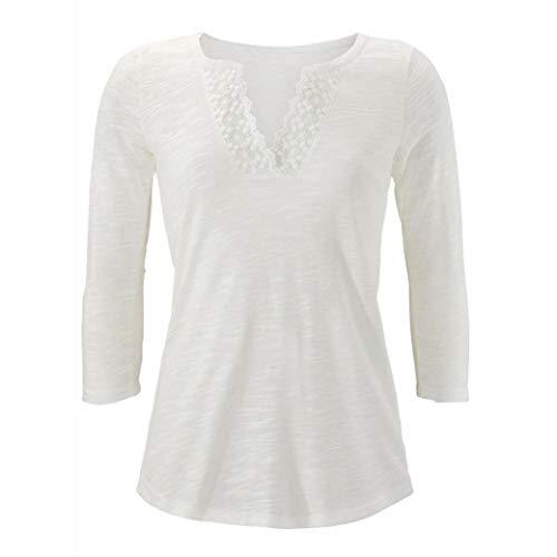Femmes Col en Noir V Manches Longues Blouse De Shirt Tops Boho T Blanc Base Dentelle Femme Tops Chemise Patchwork Dentelle ExR80Bq