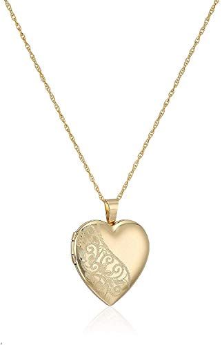 14k Gold-Filled Satin and Polished Finish Hand Engraved Heart Shaped Locket Necklace, 18