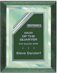 9 x 12 Green Mirror Plaque Engraved with Green Rolled Plate in Frame by Gino's Awards Inc