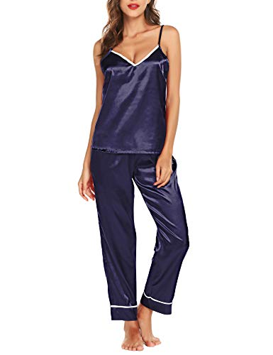 - Romanstii Satin Pajamas Set Sleepwear Loungewear Soft Nightwear Silk Pajama Set Blue