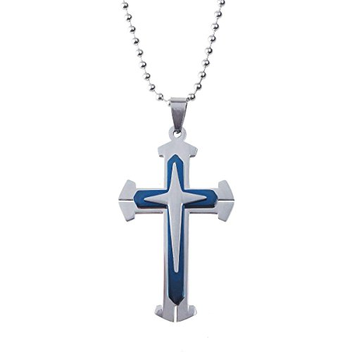 1PCS Unisex Stainless Steel Cross Pendant Necklace Chain Jewelry (Blue)