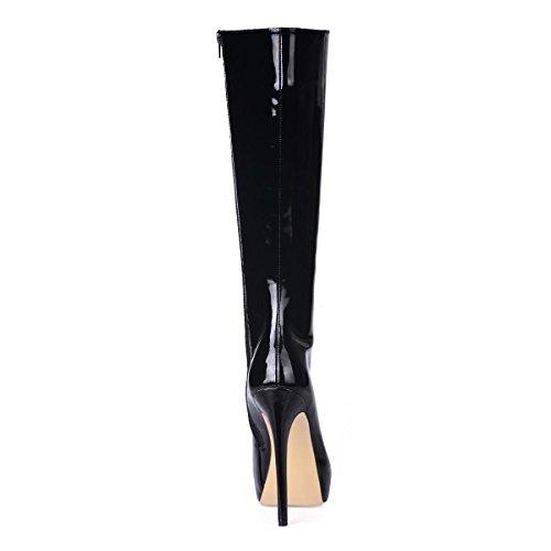 Best Heel Zipper Rubber Leather Sole Boots Platform Patent knee Boots Round Comfortable Fall 14CM Winter Toe 4U High High Women's 3CM r0gwrZOq