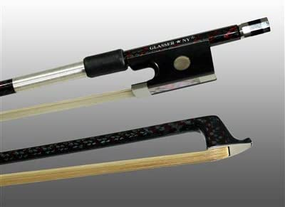 NICKEL WIRE GRIP /& TIP ROUND 4//4 FULLY LINED EBONY FROG VIOLIN BOW BRAIDED CARBON//RED HYBRID FIBER