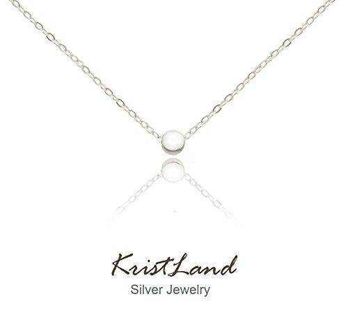 Simple Wedding Necklace - KristLand 925 Silver Adjustble Necklace Simple Design Circle Form Heart Pendant Delicate Chocker Bean Silver Color