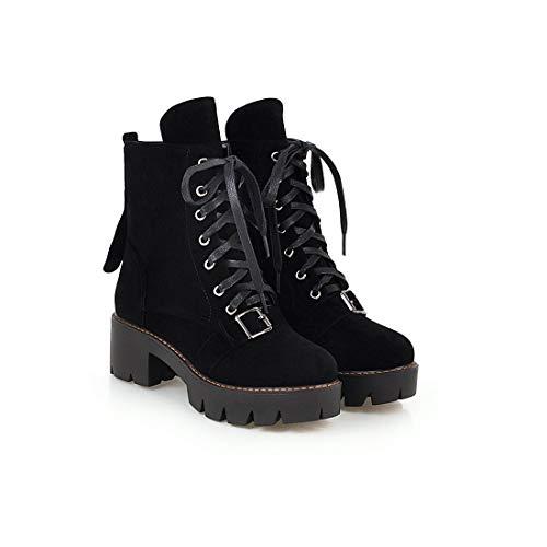Sandalette-DEDE Botas Lace Martin Botas Martin con Cordones cómodas black