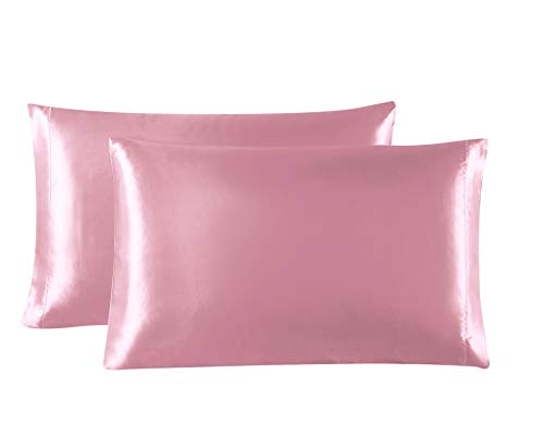 Lovescabin Two-Pack Satin Pillowcases Set for Hair and Skin Standard/Queen Size 20x30 Pink Pillow Case with Envelope Closure (Anti Wrinkle,Hypoallergenic,Wash-Resistant)