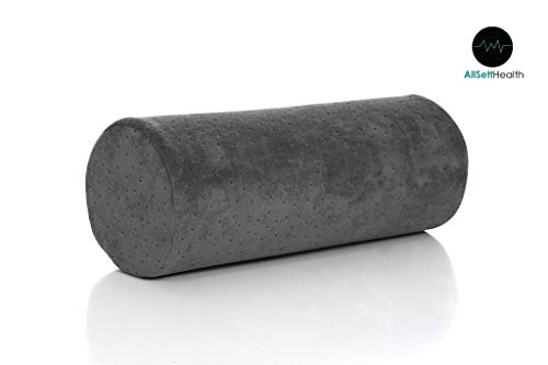 Bamboo Gray Round Cervical Roll Cylinder Bolster Pillow with Removable Washable Cover, Ergonomically Designed for Head, Neck, Back, and Legs || Ideal for Spine and Neck Support During - Neckroll Bolster Pillow