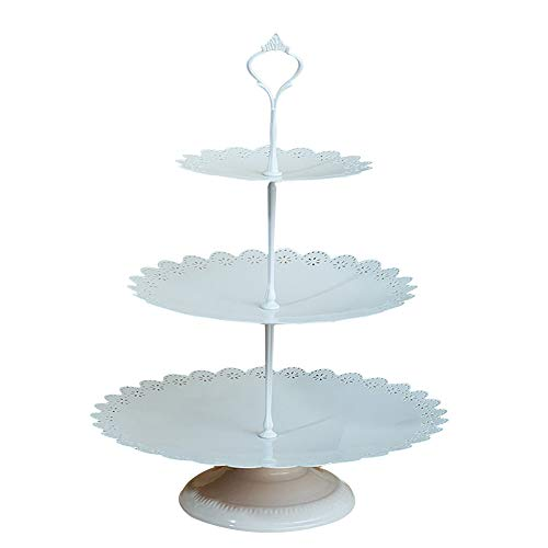 3 Tier Cupcake Stand Holder Iron with Base Fruit Cake Plate Cakes Desserts Fruits Candy Buffet Display Rack for Home Wedding Birthday Party Serving Platter