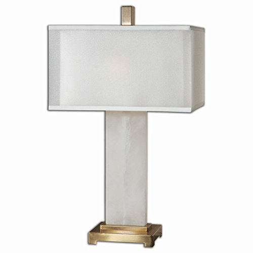 Modern White Alabaster Table Lamp | Contemporary Marble Stone Gold - Marble Buffet Lamp