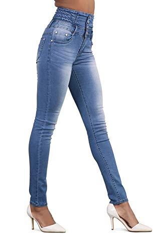 Largos Alta Hellblau Stretch Cintura Casuales Tobillo Vaqueros Moda Pitillo Elásticos Huixin Mezclilla De Con Pantalones q1FUwAwz