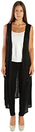 NELLY Open Front Sleeveless Cardigan Sweater Vest for Women with Pockets - MADE IN USA - All Sizes + Colors