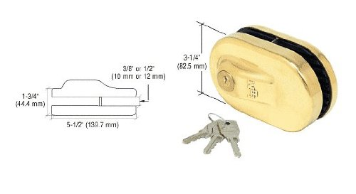 C.R. LAURENCE 1NT686BR CRL Brass Glass Mounted Slip-on Patch Lock for Use with 1/2'' Thick Glass