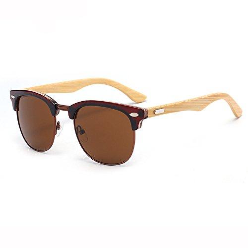 Leopard grain Gafas Gafas de de Retro que Bamboo Leg Neutral Anti sol SSSX conducen sol Polarizer Color los Glasses Ultra GYYTYJ de Marrón hombres Black UV xSgZIw5
