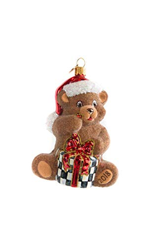 MacKenzie-Childs Glass Ornament - Ted The Bear