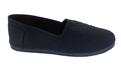 Elegant Womens Black Plain Canvas Slip-on Flat Shoes, Espadrille Loafers Black