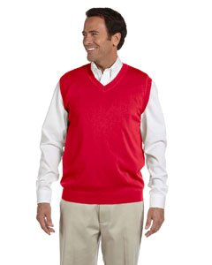 Devon & Jones Men's V-Neck Vest (D477) -RED -