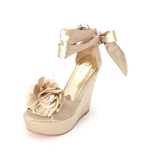 Paris Hilton Womens Janice Leather Open Toe Special, Gold Satin, Size 5.5