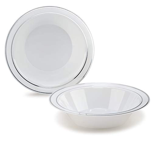 """"""" OCCASIONS"""" 120 Bowls Pack, Heavyweight Disposable Wedding Party Plastic Bowls For Thanksgiving (14oz Soup Bowl, White/Silver Rim)"""