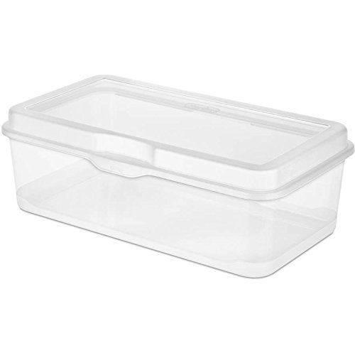 STERILITE 6 Pack 18058606 Plastic FlipTop Latching Storage Box Container - Storage Lid Attached