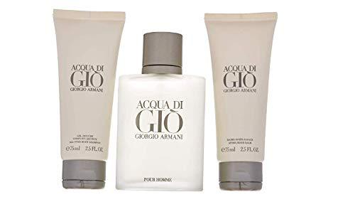 Armani Acqua Di Gio For Men 3 Piece Set (3.4 Eau Di Toilette Spray / 2.5 All Over Body Shampoo / 2.5 After Shave Balm)