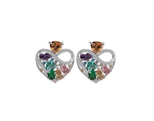Bridal/Wedding AAAA Grade CZ Earrings Swarovski Crystal 925 Silver Halo Platinum-Plated Star, Teardrop, Heart ()