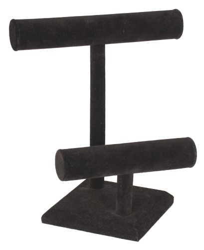 KC Store Fixtures 49129 Jewelry T-Bar Display for Necklace and Bracelets, 2-Tier, Black Velvet, 11 Inches High Jewelry Display Fixtures