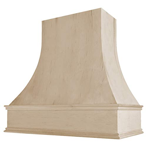 30″ Curved Wood Range Hood (Raw, 30″Wx36″H)