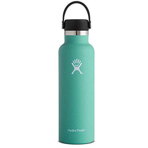 Hydro Flask 21 oz Vacuum Insulated Stainless Steel Water Bottle, Standard Mouth with Loop Cap, Mint