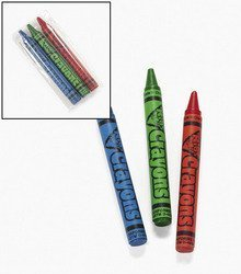 """24 Packs ~ Cellophane-wrapped Crayons ~ 3 Crayons Per Pack ~ Approx. 2 3/4"""" ~ Red, Green, Blue ~ New"""