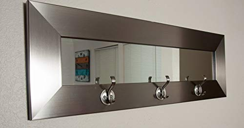BrandtWorks BM001HK Last Look Modern Silver Wall Mirror with Hooks, 32.5 x 10.5,