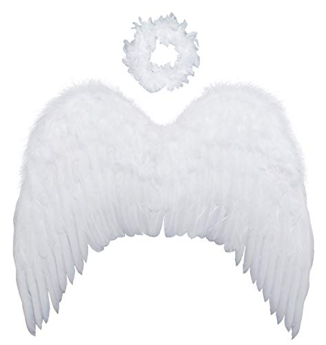 FashionWings (TM Teens Adults Classic White Costume Feather Angel Wings & Halo ()
