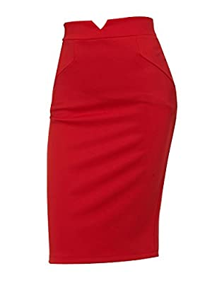 Regna X Womens Stretchy Wear to Work Office Pencil Fitted Skirt (Plus